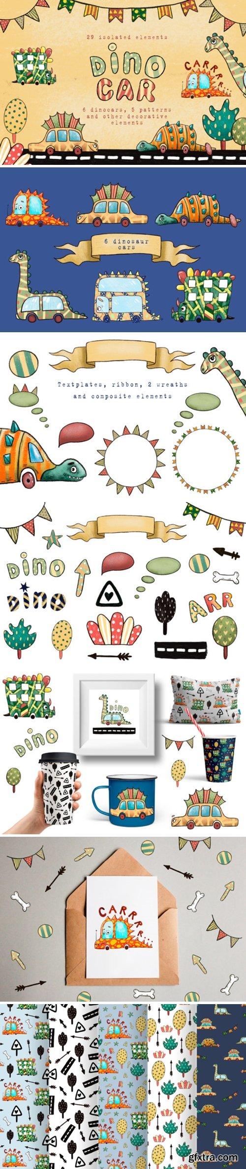 Dino Car - Clip Art Set 1465005