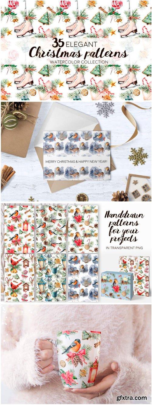 Elegant Christmas Patterns. Watercolor 1465352