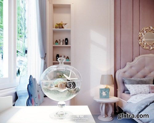 Modern Girly Bedroom Interior Scene