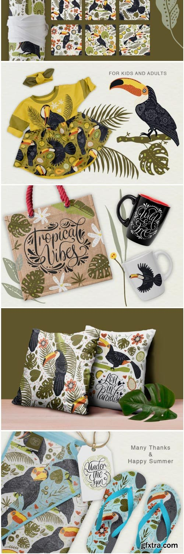 Toucan. Folk Art Graphic Set. 1466931