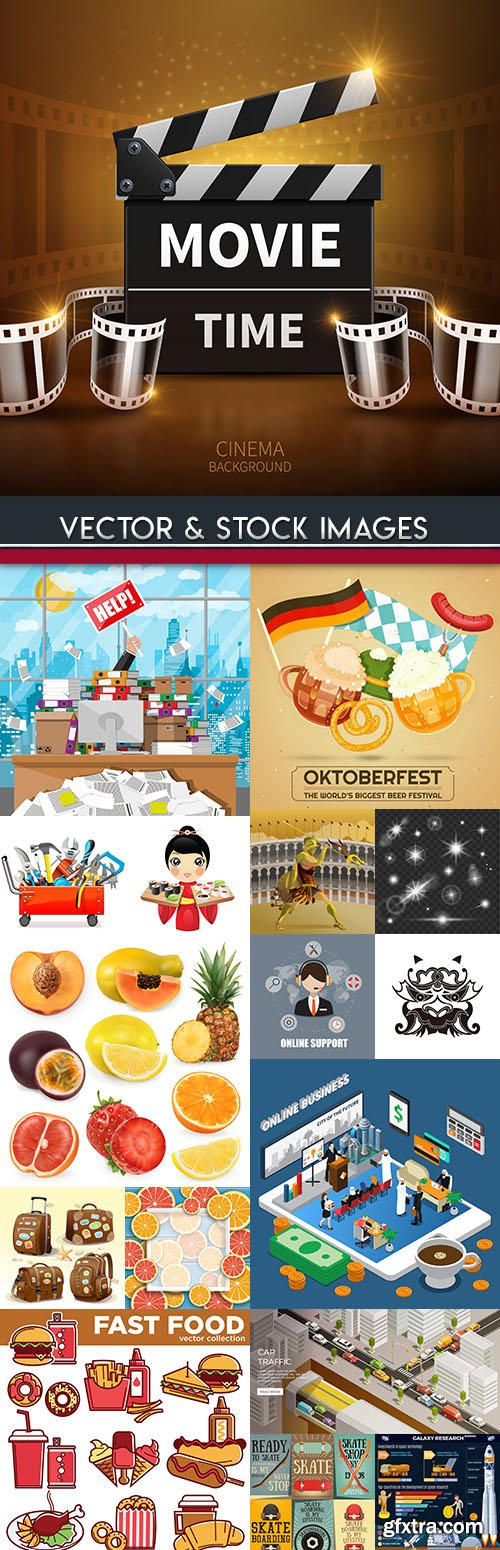 Big illustrations on different subject vector collection 15