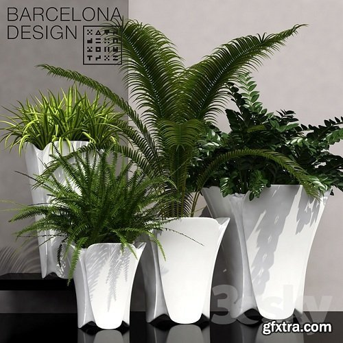 Barcelona design flowerpots set 02