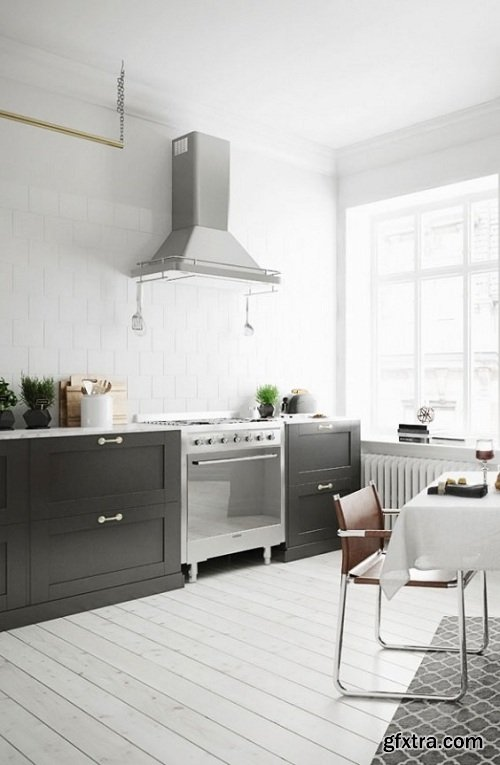 Scandinavian Style Kitchen Interior Scene 02