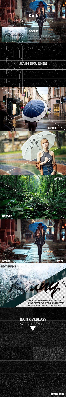 CreativeMarket - Rain Effect TEXT & Overlays & Brush 3744372