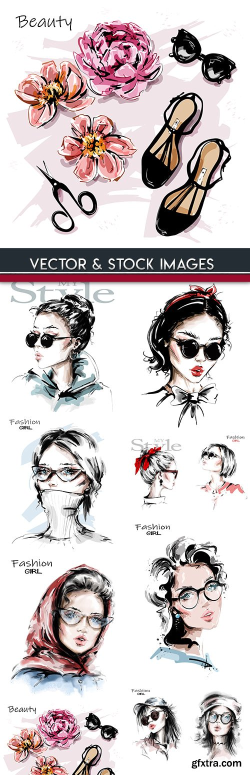 Fashion girl elegant style vector sketch of illustrations