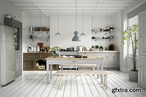 Scandinavian Style Kitchen Interior Scene 03