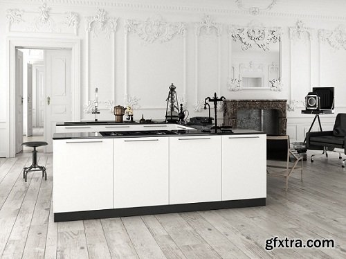 Scandinavian Style Kitchen Interior Scene 04
