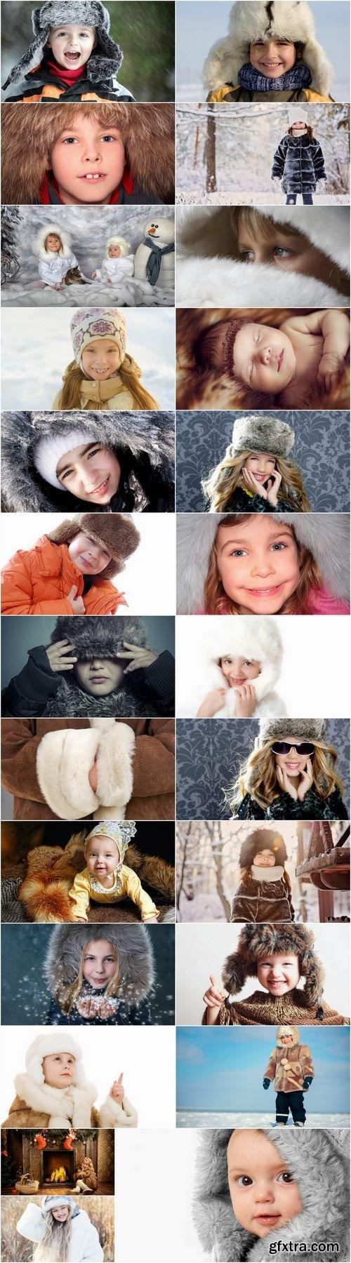 Teenage children child in warm clothes cap coat jacket 25 HQ Jpeg