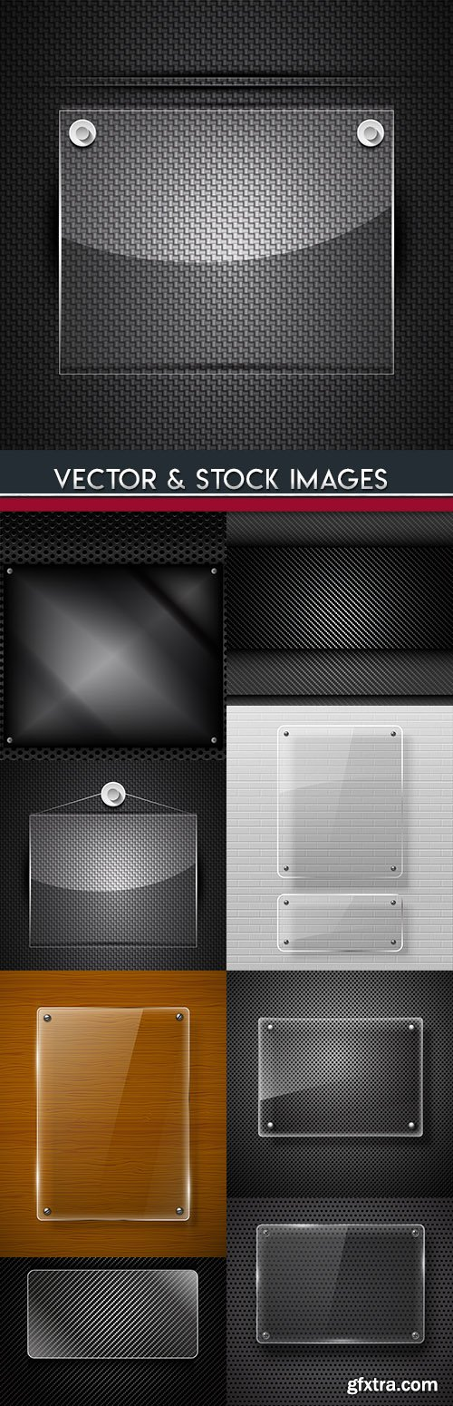 Banner glass design black metal background