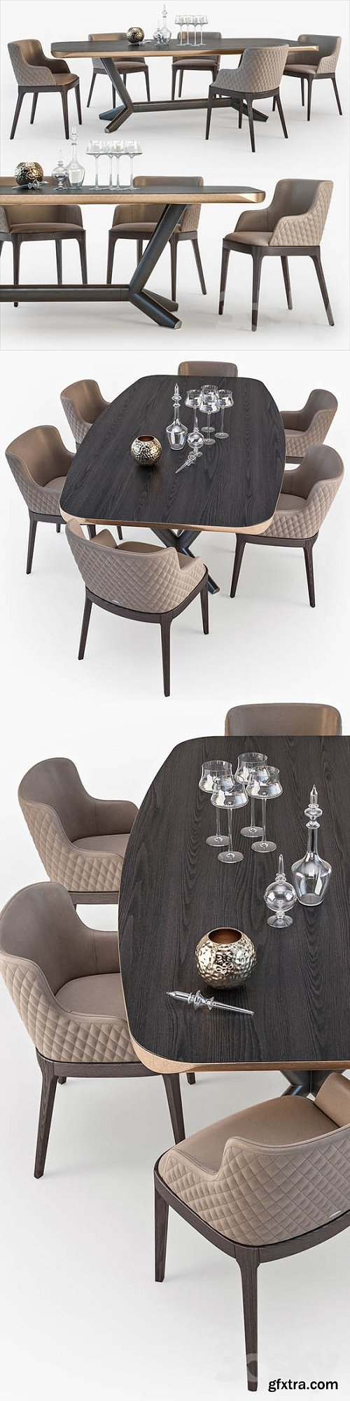 Cattelan Italia Planer table Magda armchair set 01