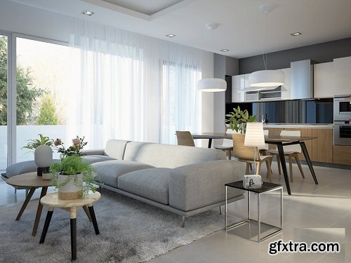 Full Living Room & Kitchen 3d Interior Scene 03