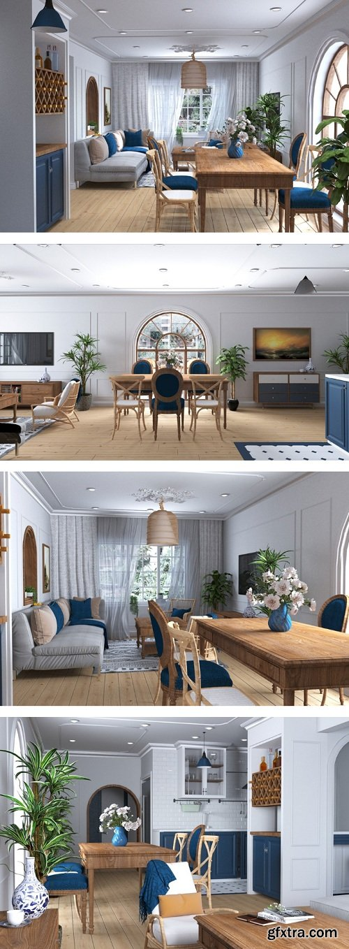 Full Living Room & Kitchen 3d Interior Scene 04