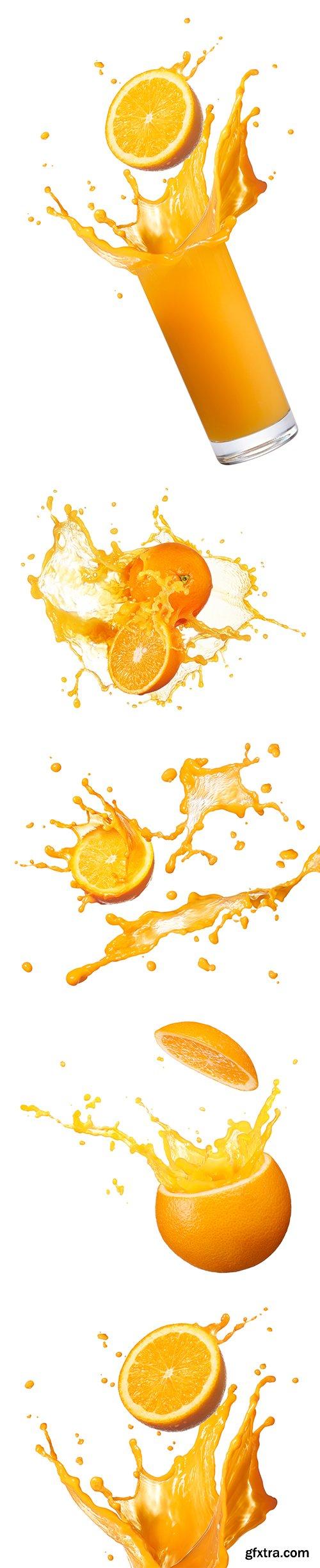 Orenge Juice Splash Isolated - 12xJPGs