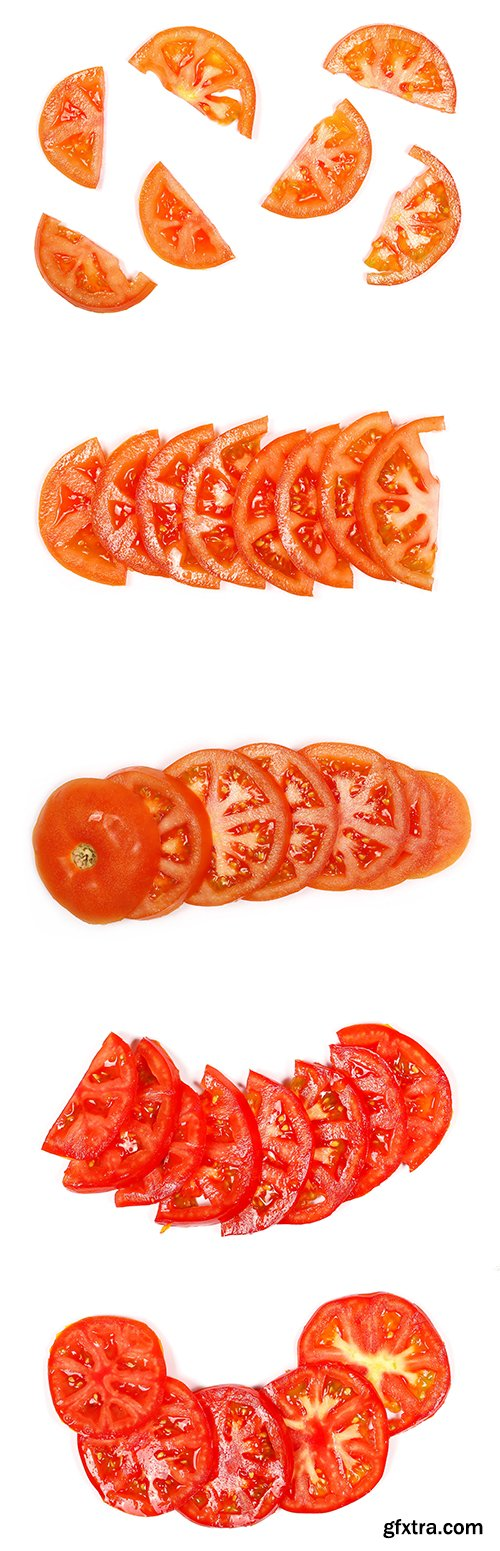 Red Tomato Slices Isolated - 10xJPGs