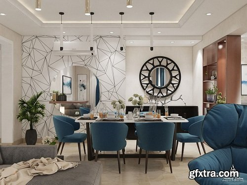 Living Room & Dining Room Interior Scene