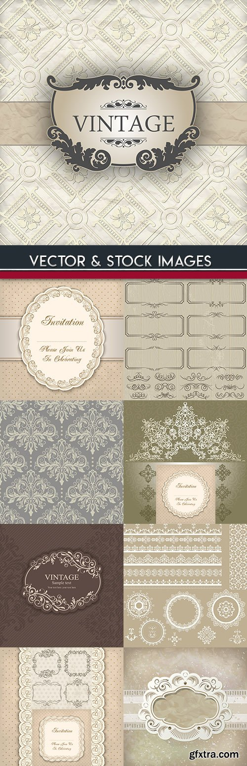 Vintage decorative floral and elegance lacy damask element