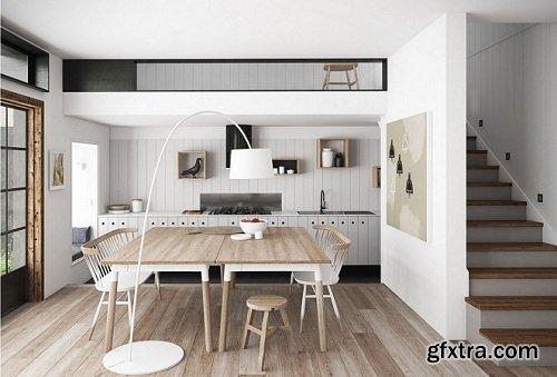 Scandinavian Style Kitchen Interior Scene 05