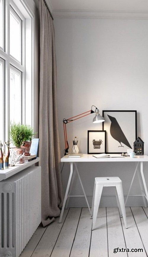 Scandinavian Style Working room Interior Scene