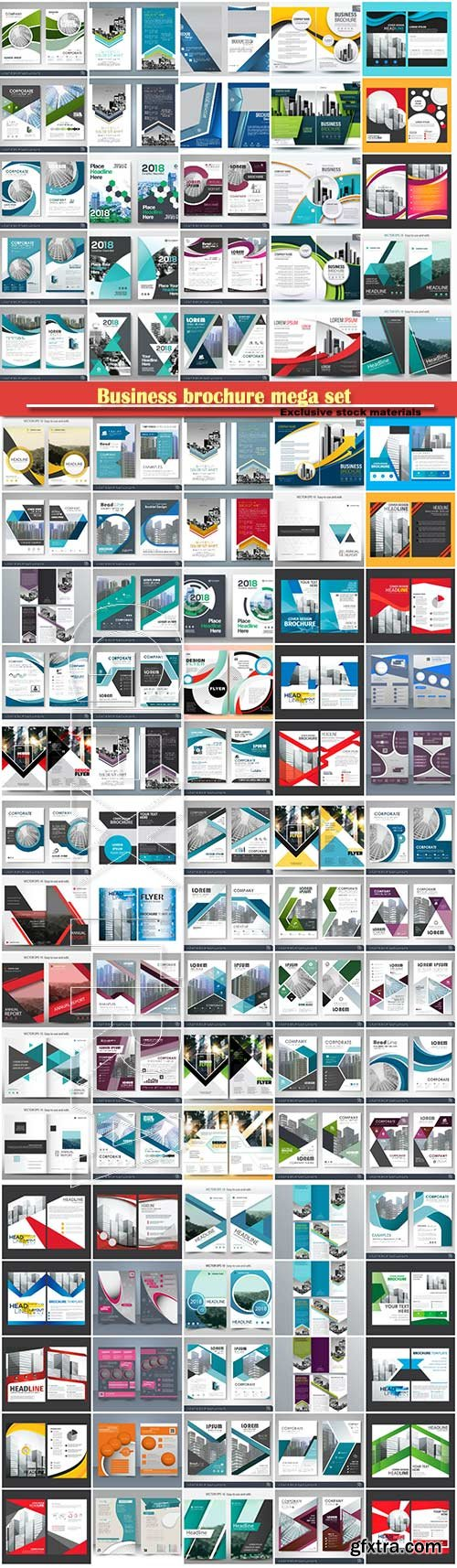 Business brochure mega set, vector flyers template # 5