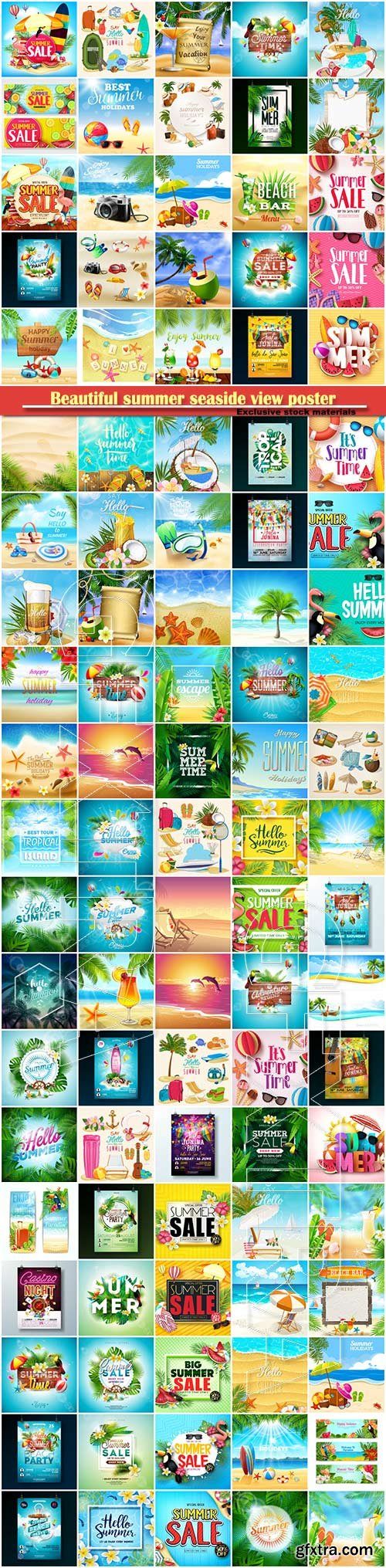 Beautiful summer seaside view poster, tropical sea, travel background vector illustration