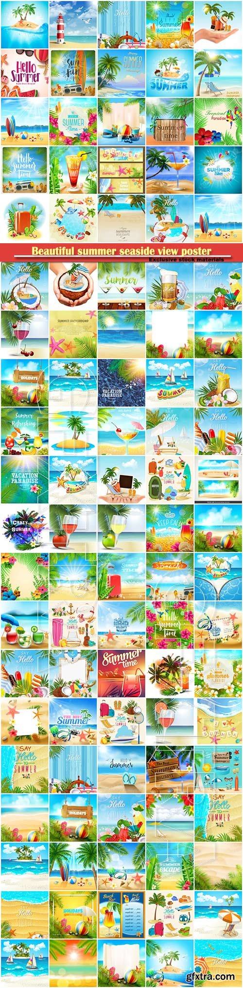 Beautiful summer seaside view poster, tropical sea, travel background vector illustration # 2