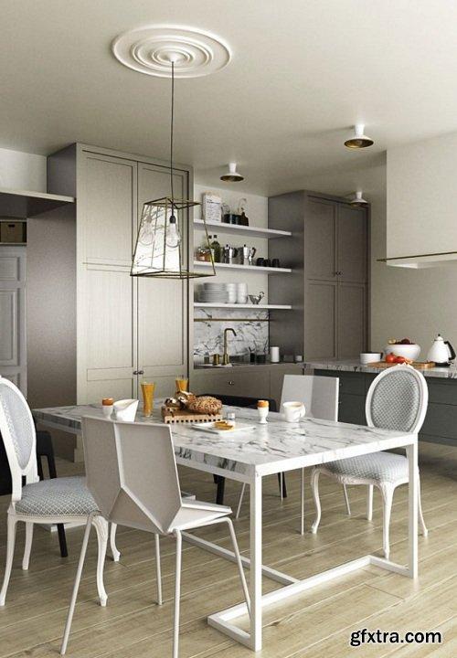 Scandinavian Style Kitchen Interior Scene 06