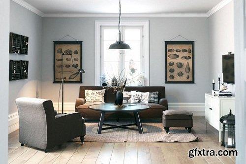 Scandinavian Style Living Room Interior Scene 09
