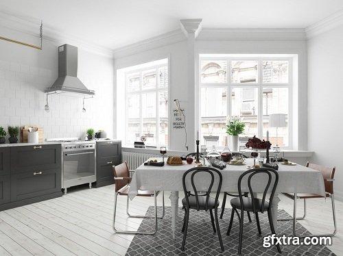 Scandinavian Kitchen & Diningroom Interior Scene