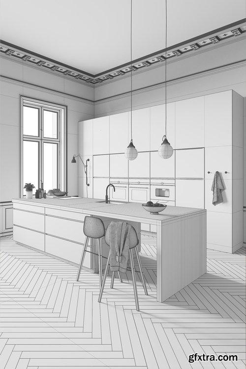 Cgtrader - White Kitchen by Kvik 3D model