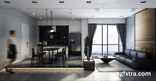 Living Room & Kitchen 35 Interior Scene