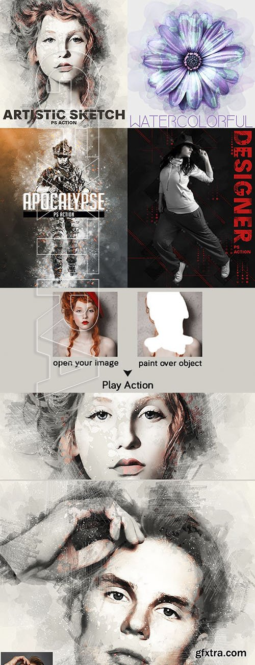 GraphicRiver - 4 In One Pro Photoshop Actions V2 Bundle 23925243