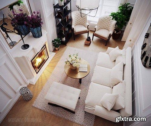 Living Room 3D Interior Scene 19
