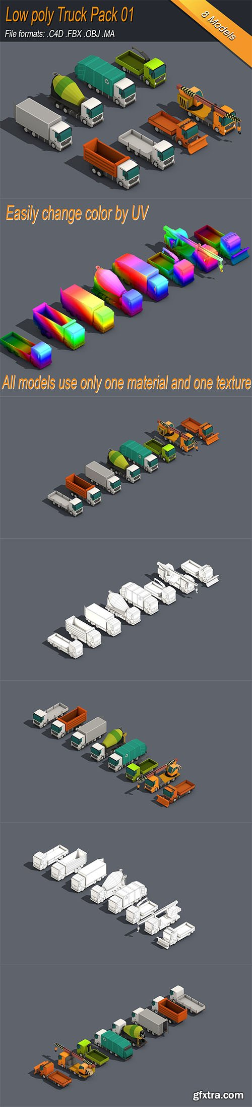 Cgtrader - Low Poly Truck Pack 01 Isometric Low-poly 3D model