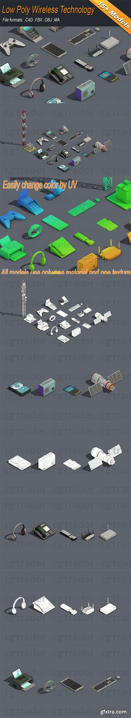 Cgtrader - Low Poly Wireless Technology Isometric Low-poly 3D model