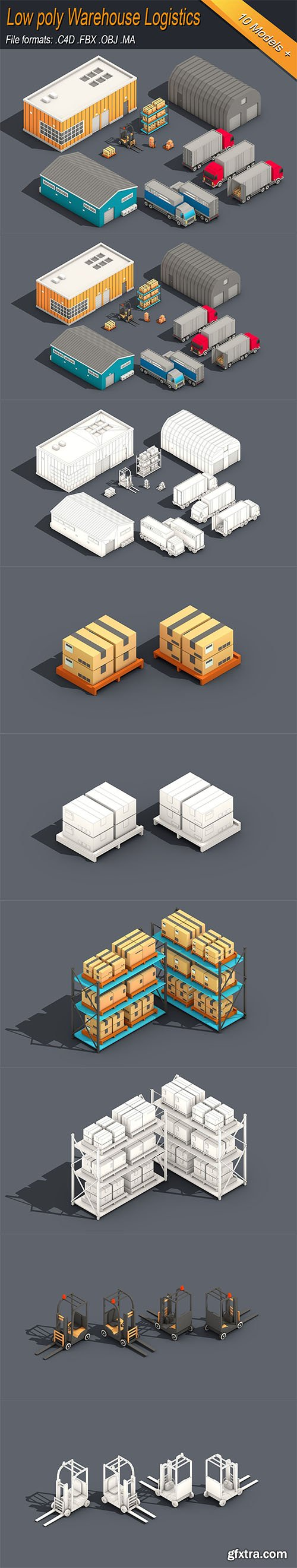 Cgtrader - Low Poly Warehouse Logistics Isometric Low-poly 3D model