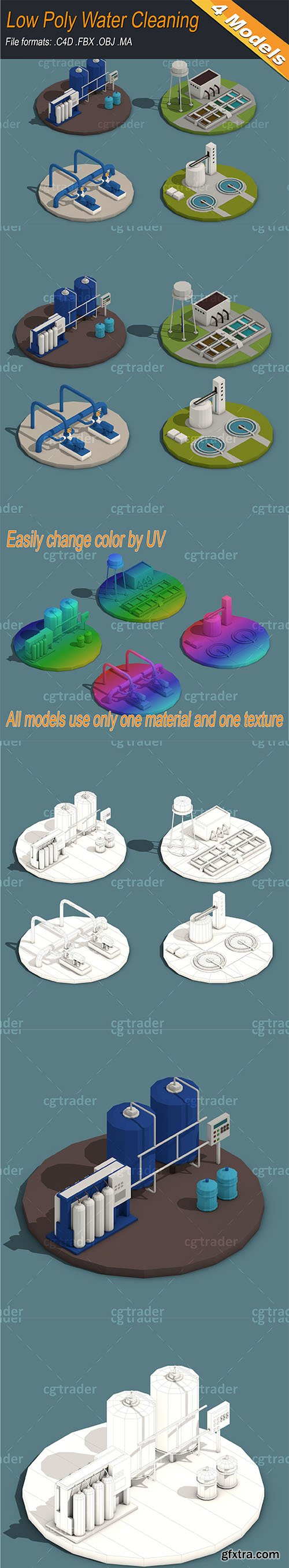 Cgtrader - Low Poly Water Cleaning Isometric Low-poly 3D model