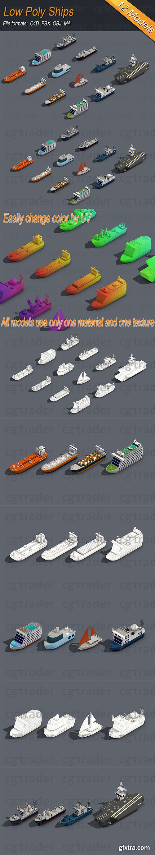 Cgtrader - Low poly Ships pack 01 Isometric Low-poly 3D model