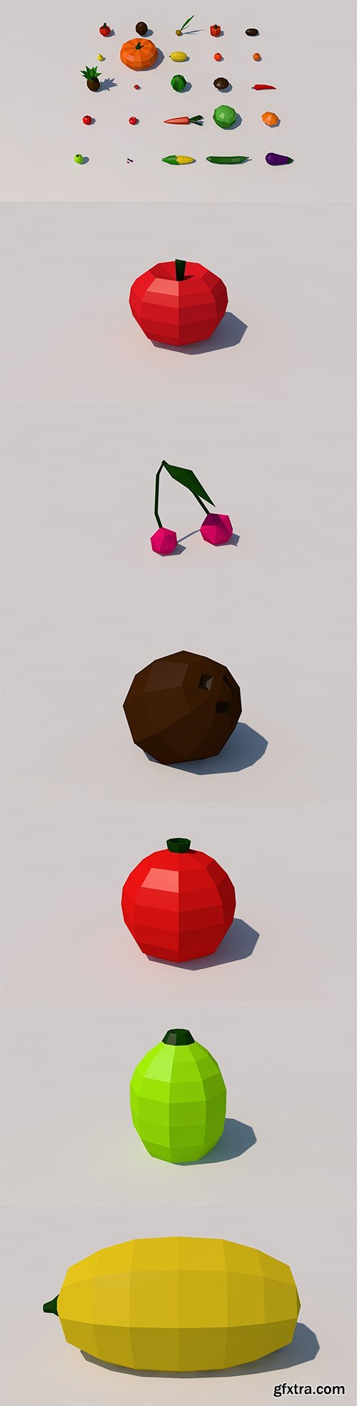 Cgtrader - Fruit and vegetables low poly pack Low-poly 3D model