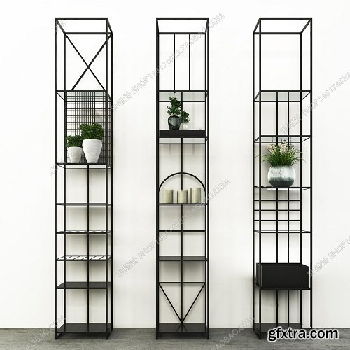 Nordic wrought iron decorative frame jewelry frame floral vase 3D model