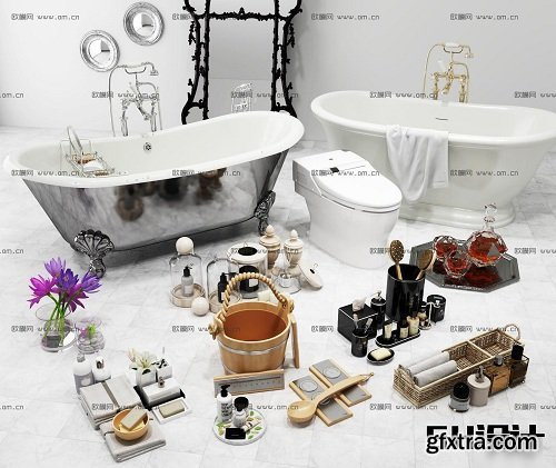 Modern Bathtub & Bathroom Accessories 3d Models