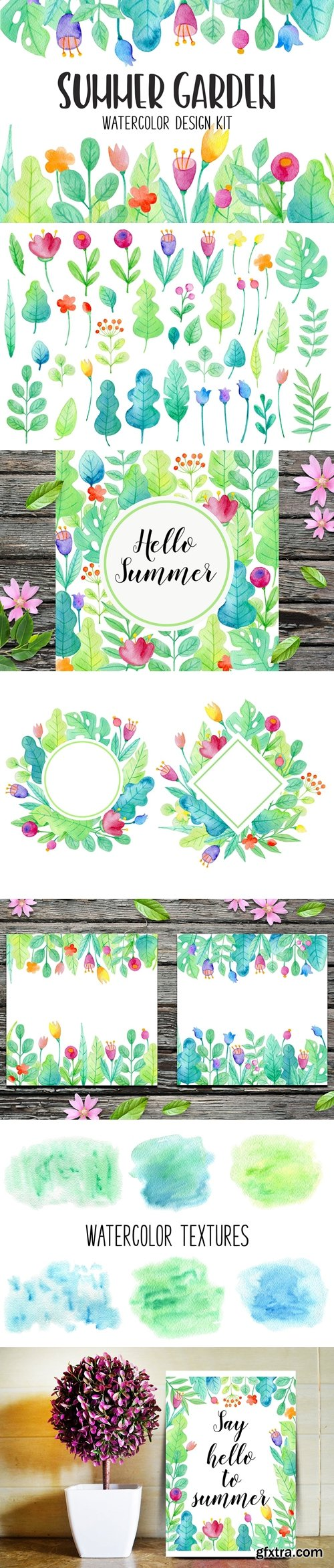 CM - Summer Garden Watercolor Design Kit 3852066