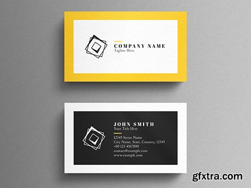 Black and Yellow Corporate Business Card Layout 260559536