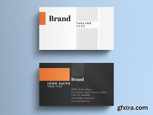 Corporate Business Card Layout with Orange Accents 260560381