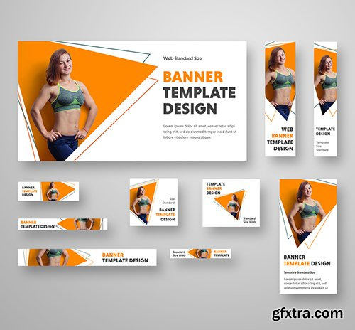 10 Fitness Health Web Banners with Geometric Accents 263999989