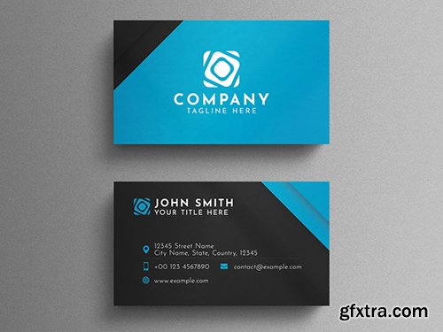 Black and Blue Corporate Business Card Layout 260559299