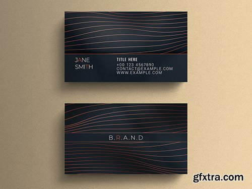 Business Card Layout with Wavy Line Elements 264613572
