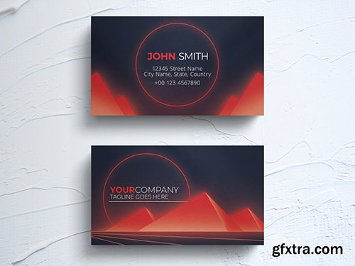 Business Card Layout with Retro Pyramid Elements 264617870
