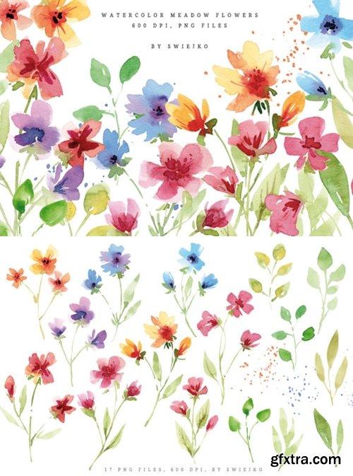 Watercolor Meadow Flowers I