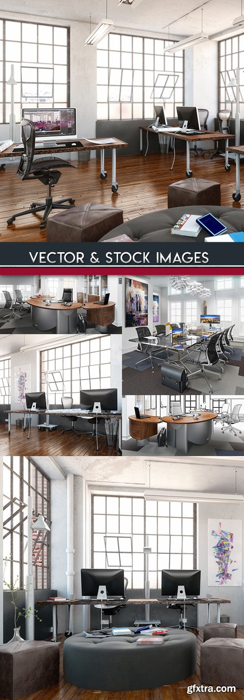 Workplace office furniture and situation for business