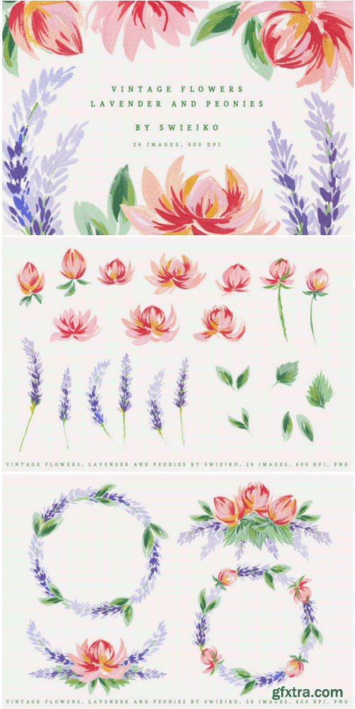 Lavender and Peonies Gouache Flowers 1495254
